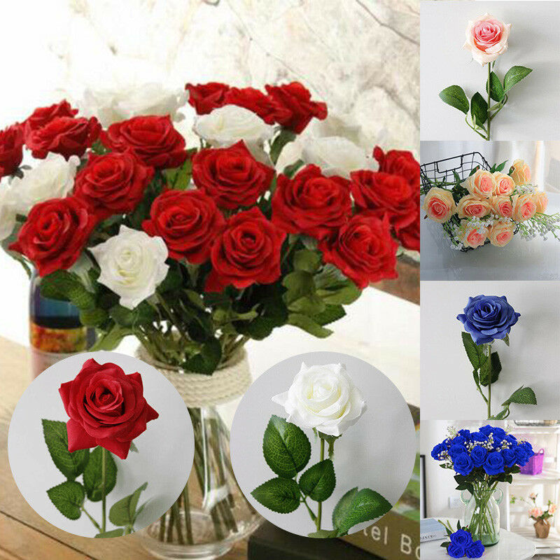 Large Artificial Rose Silk Fake Flowers Head Floral Wedding Home