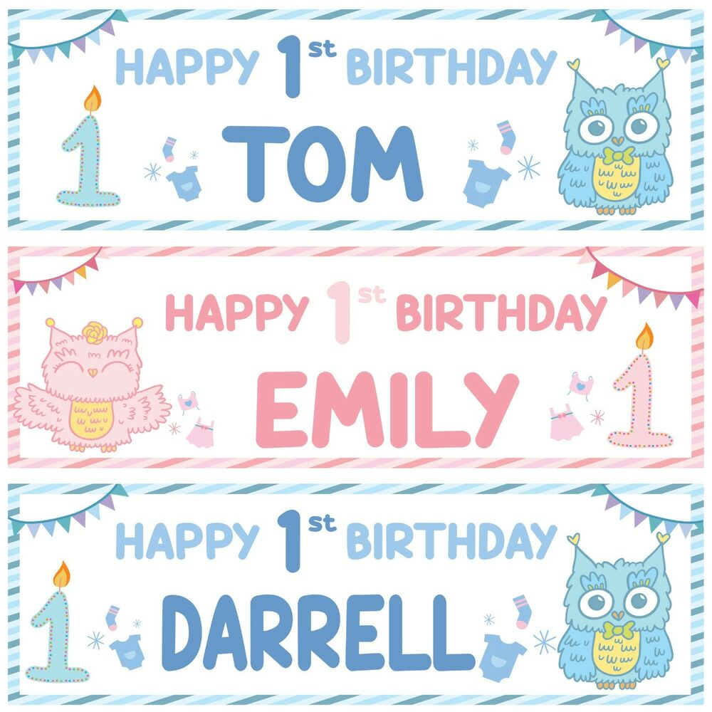 Details About 2 Personalised Happy 1st Birthday Banner Baby Animal Owl Boy Girl Party Poster