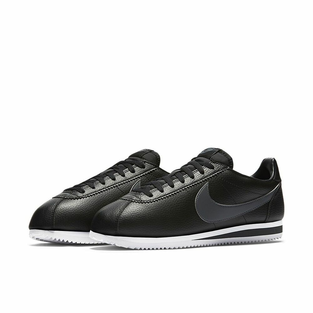 huge discount 96fa3 fbaa7 Details about Nike Classic Cortez Leather 749571 011 Mens Size 11.5 Shoes  Black White Grey