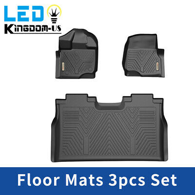 All Weather Floor Mats Floor Liners for 2015-2020 Ford F-150 SuperCrew Cab Black
