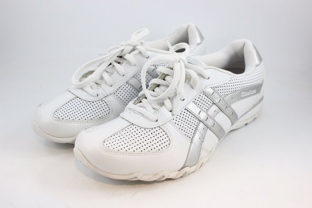48c000665ada Details about WOMEN S SIZE 9 WHITE   SILVER LEATHER SKECHERS TENNIS SHOES  SNEAKERS