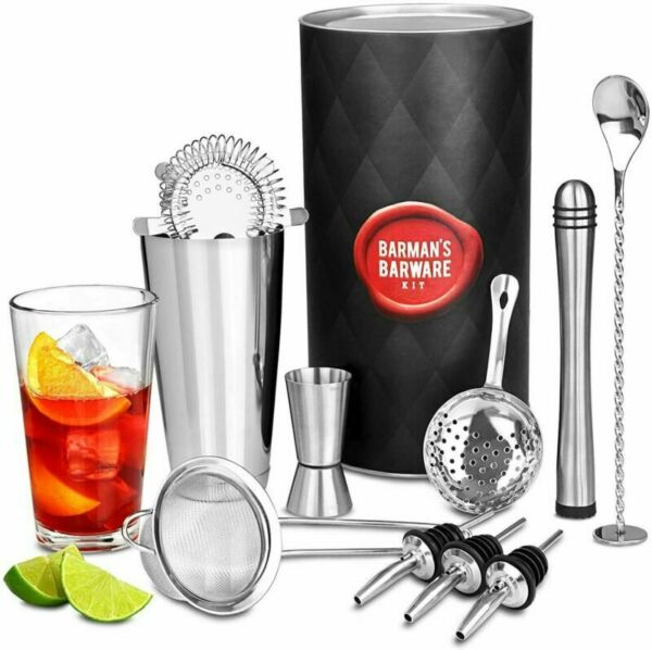 Barman's Barware Kit by bar@drinkstuff Cocktail Gift Set with Boston Shaker...