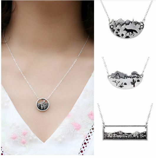 Desert Landscape Necklace Free Shipping Nature Mountain 5 Style Coyote Bear Moon