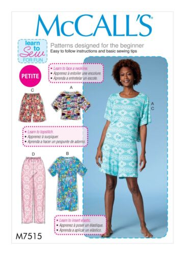 McCalls SEWING PATTERN M7515 Misses/Petite Nightwear,Learn To Sew For Fun