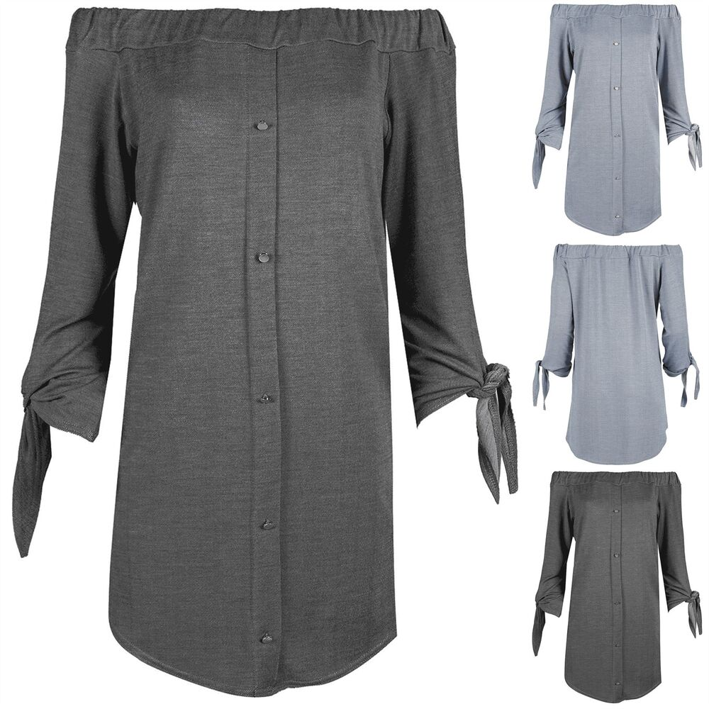 996681d6fe2c Details about Ladies Denim Look Stretchy Curved Hem Womens 3 4 Tie Sleeves Bardot  Shirt Dress