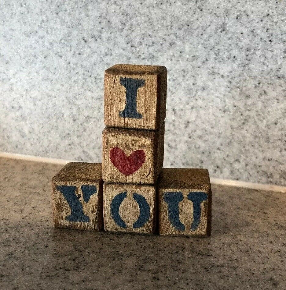 I You Wood Blocks In Vintage Decor Art Ebay