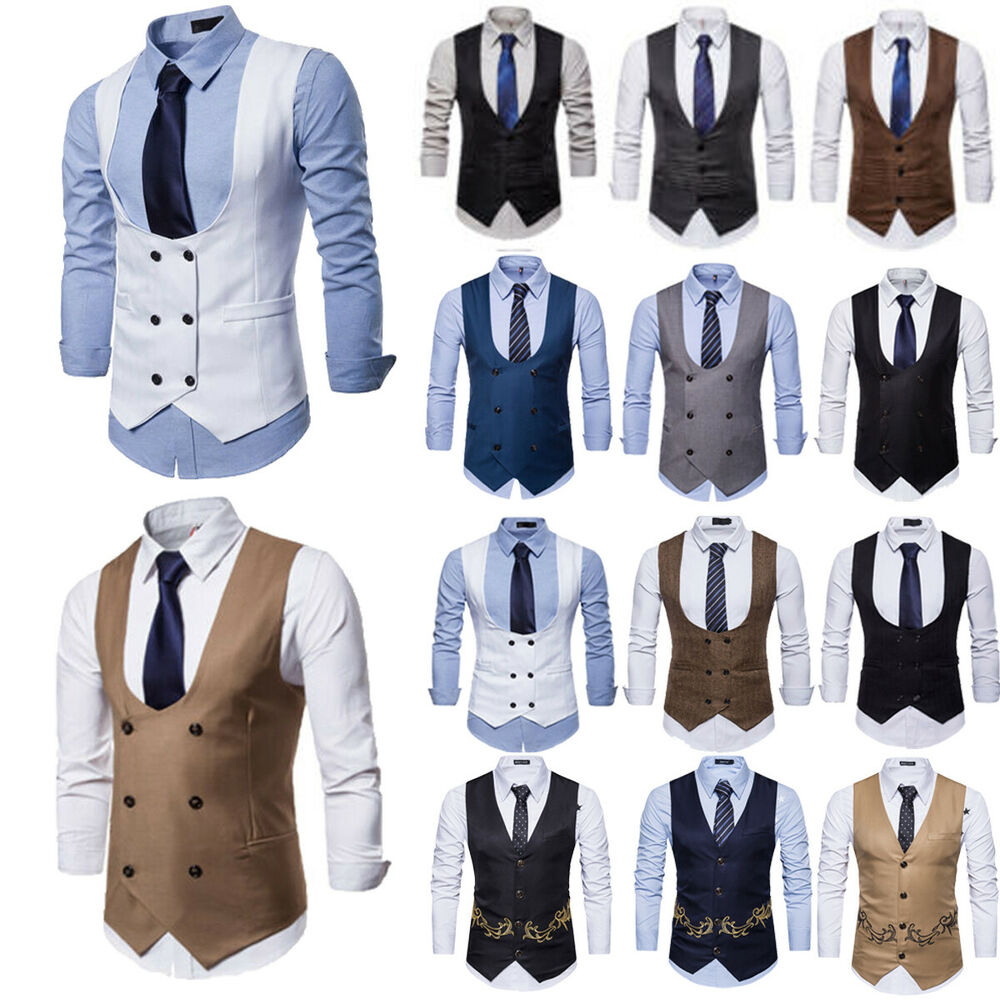 Mens Formal Business Dress Vest Wedding Double Breasted Classic