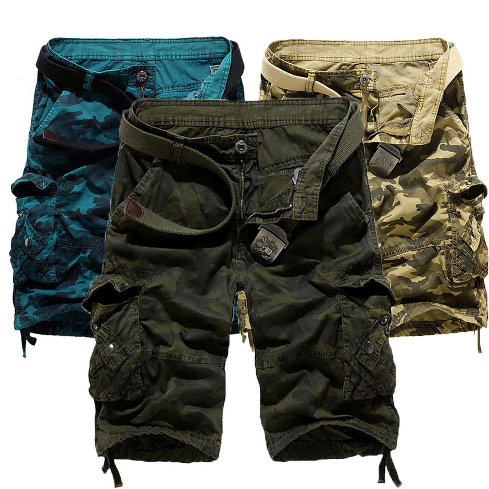 6b32bdf026 Details about Mens Cargo Shorts Military Army Combat Camo Pants Multi  Pockets Sports Trousers
