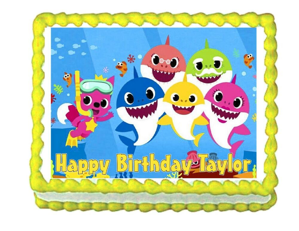 Baby Shark party edible cake image cake topper frosting ...
