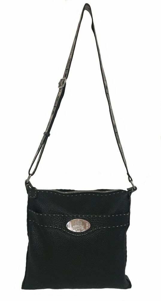 Details about Authentic FENDI Black Leather SELLERIA Crossbody Messenger  Shoulder Handbag cb1b20db21408