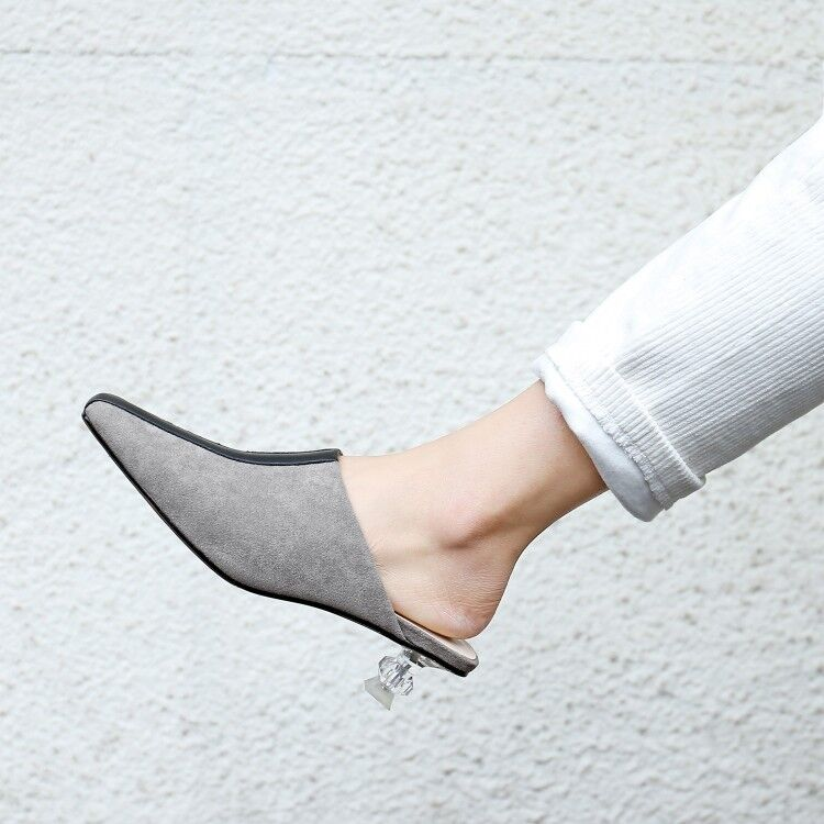 abd027b5ba Details about Women Chic Kitten Heels Nules Suede Pointed Toe Backless Pull  on Casual Shoes Sz