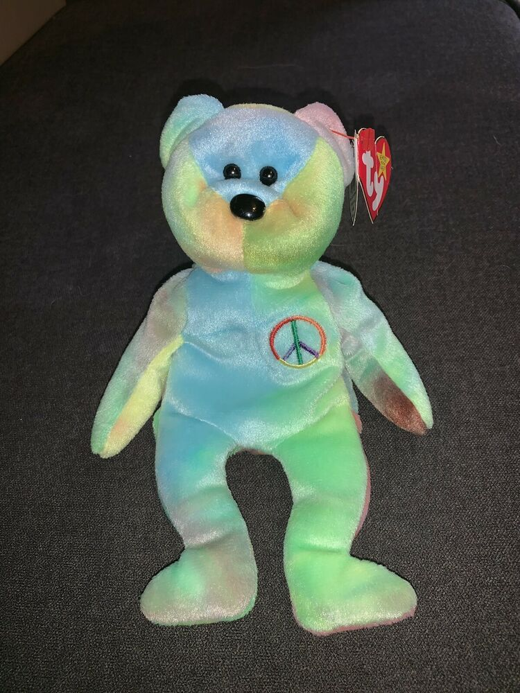 Details about  Ultra Rare Ty Beanie Baby Peace Bear Original Collectible  1996 a0569a06db6