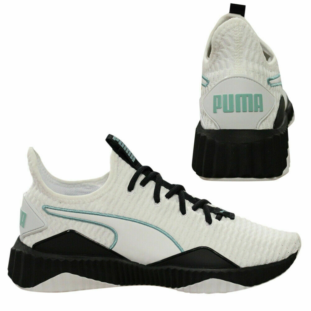 86c985237f5 Puma Defy Womens Trainers Slip On Lace Running Shoes White Black 190949 03  Q6F
