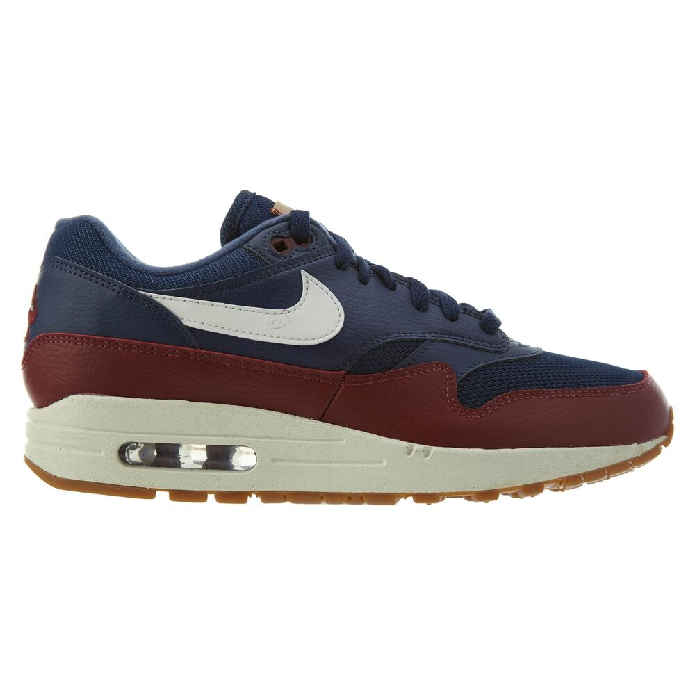 brand new 858ca 8e06d Details about Nike Air Max 1 Mens AH8145-400 Navy Blue Team Red Sail  Running Shoes Size 9