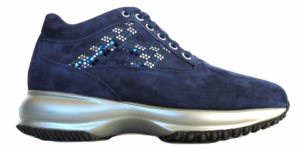 74d2c32f072 Details about Hogan shoes sneaker woman interactive lav. double pois  HXW00N0X290CR0U800 blue