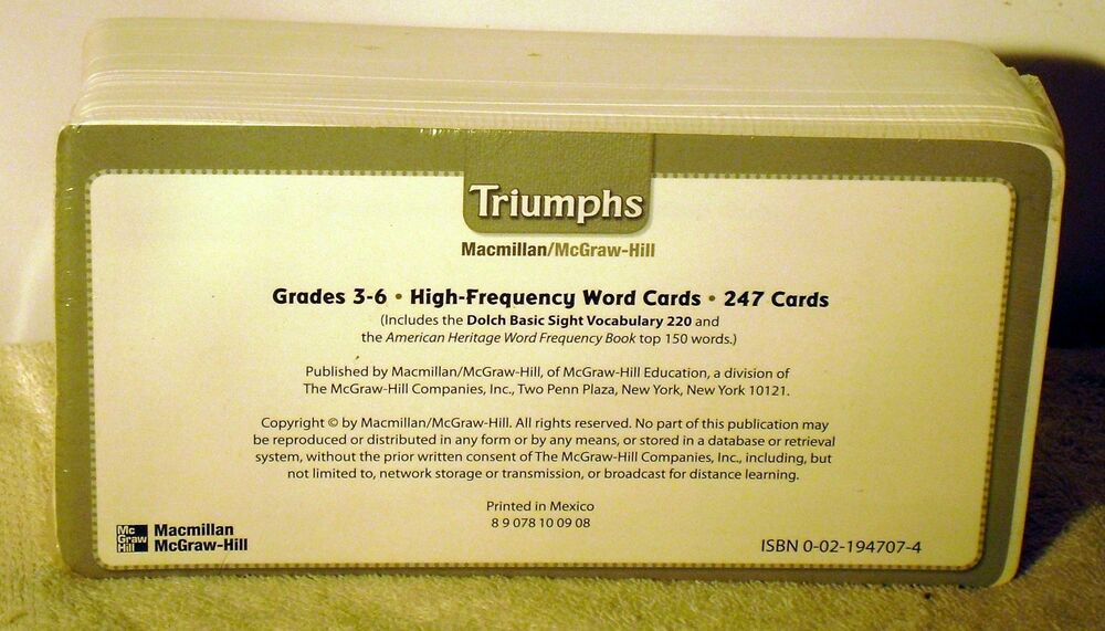 Macmillian/Mcgraw Hill --Triumphs Grade 3-6 High Frequency Word Cards 247  cards 9780021947072 | eBay