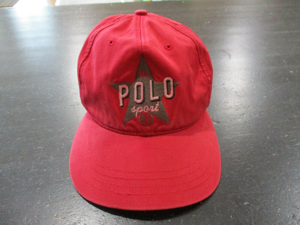 ccd45256 Details about VINTAGE Ralph Lauren Polo Sport Strap Back Hat Cap Red Spell  Out Star Ball 90s