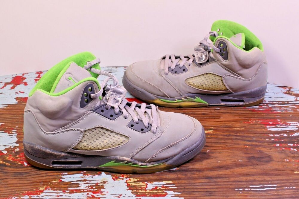 low priced 8df74 39a43 Details about Nike Air Jordan 5 V Retro Green Bean Silver Flint Grey 5.5Y  Youth Shoe Sneaker