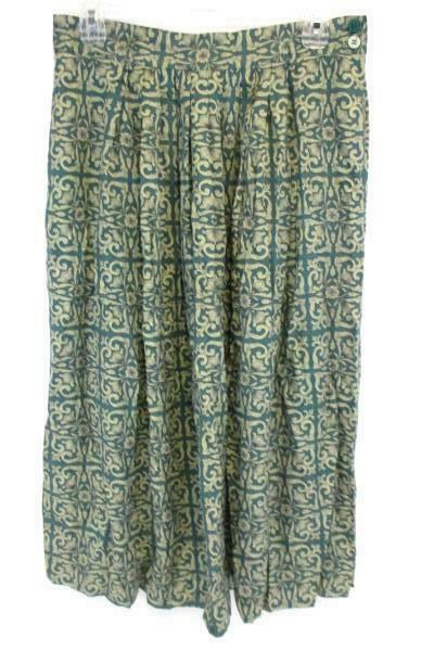 4ebb566c0 Details about Jones New York Long A Line Pleated Skirt Green Gold Floral  Women's Petite 8