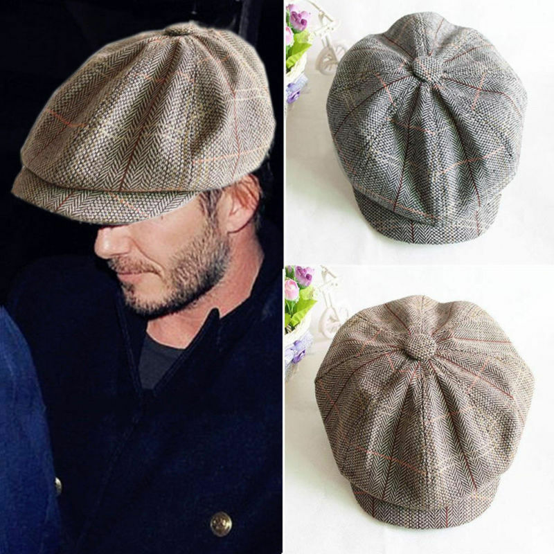 4d5d5983d691a Details about Men s Tweed Houndstooth Beret Newsboy Cabbie Driver Flat Cap  Peaky Blinder Hat
