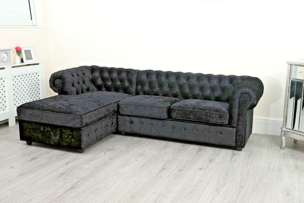 Black Chesterfield Corner Sofa Chaise Long Seater Settee Left Right
