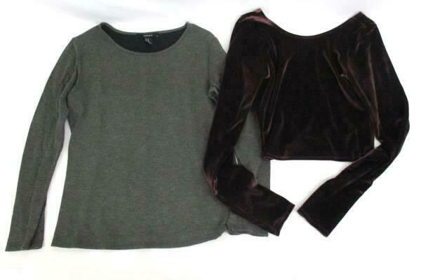 a91a8e00c12dc Details about Lot 2 Tops Forever 21 Long Sleeve Abercrombie Velvet Crop  Long Sleeve Women s M