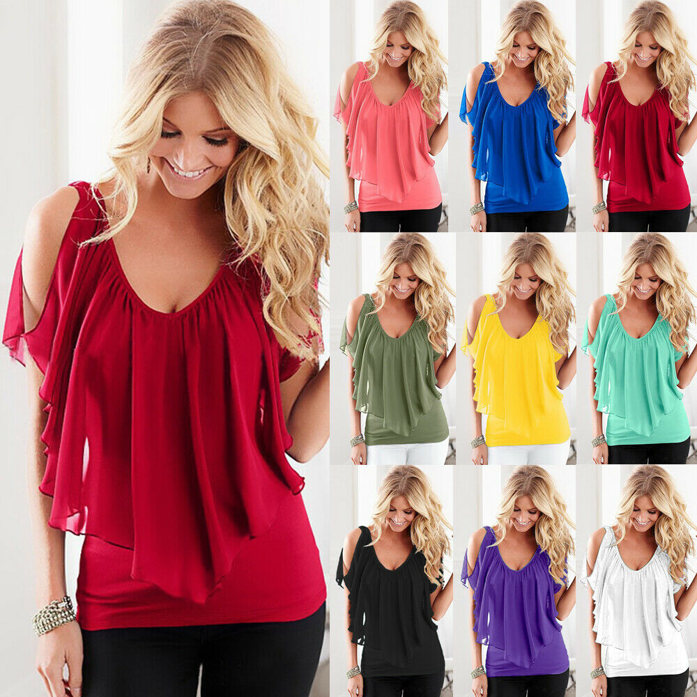 eec23d65658250 Details about UK Womens T Shirt Ladies Tee Shirt Plunge Pure Pullover Lace  Blouse Batwing Tops