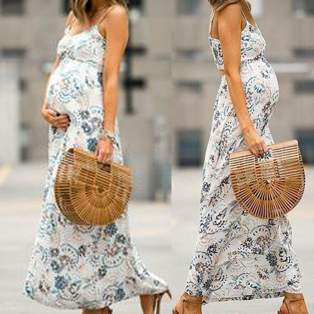 552a186474fbd Details about Women Mom Pregnancy Maternity Beach Floral Chiffon Sleeveless Long  Dress Clothes