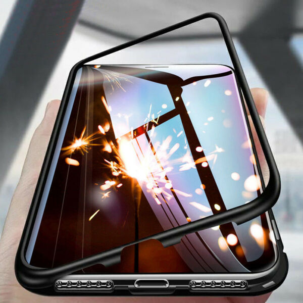 For iPhone X 6 7 8 Plus Magnetic Adsorption Metal Flip'Tempered Glass Case co AS