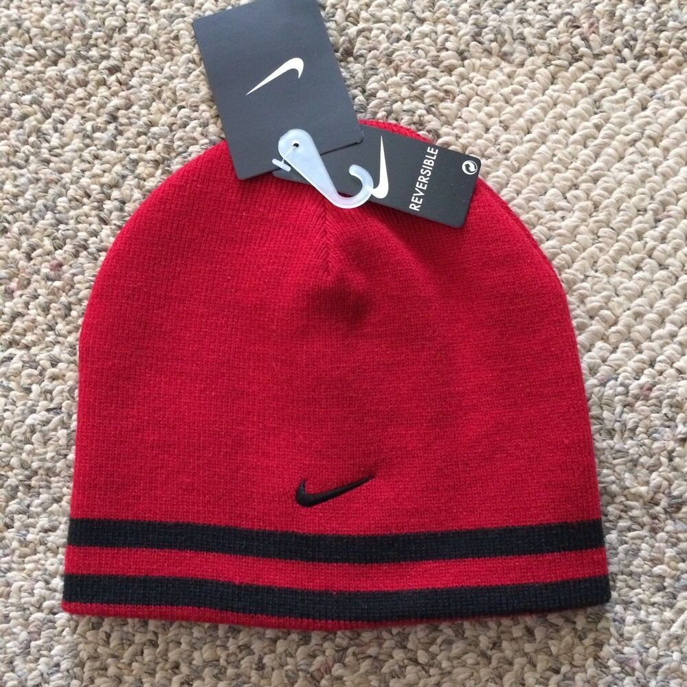 b68faec7da810 Details about Nike Knit Winter Beanie Reversible Hat Red Black Boys Youth  Size 8 20 9A2047-KR5