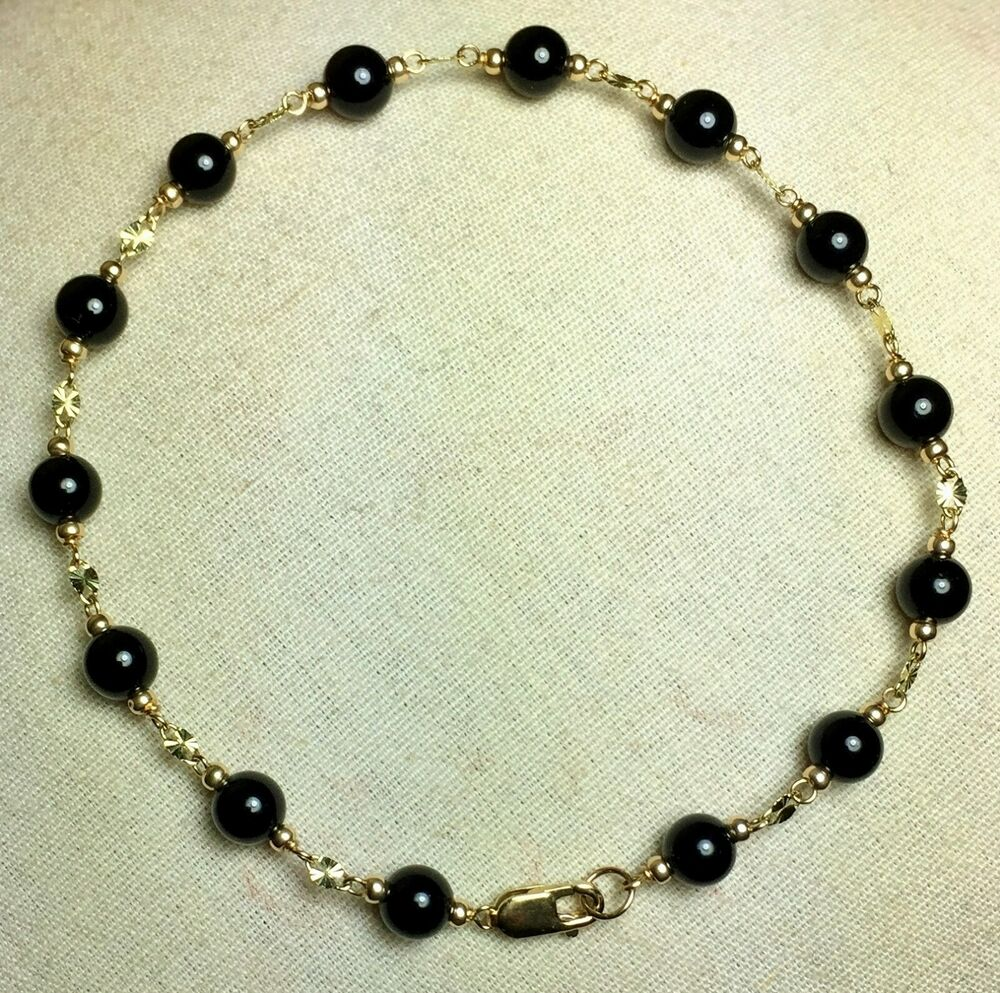 98aea121deb987 Details about Elegant 14k solid yell/ gold 6 1/2 inches long natural Black  Onyx nice bracelet
