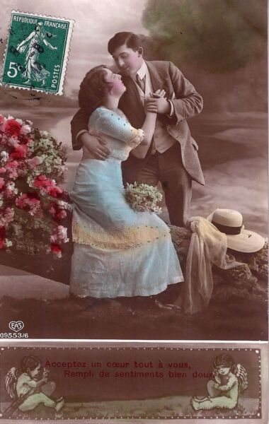 CPA Couple - Amoureux, Cupidon - 1913