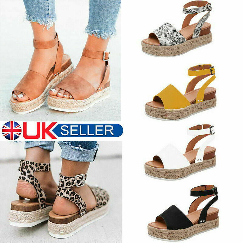 0acb3e2551 Details about Women's Ankle Strap Flatform Wedges Shoes Espadrilles Summer Platform  Sandals