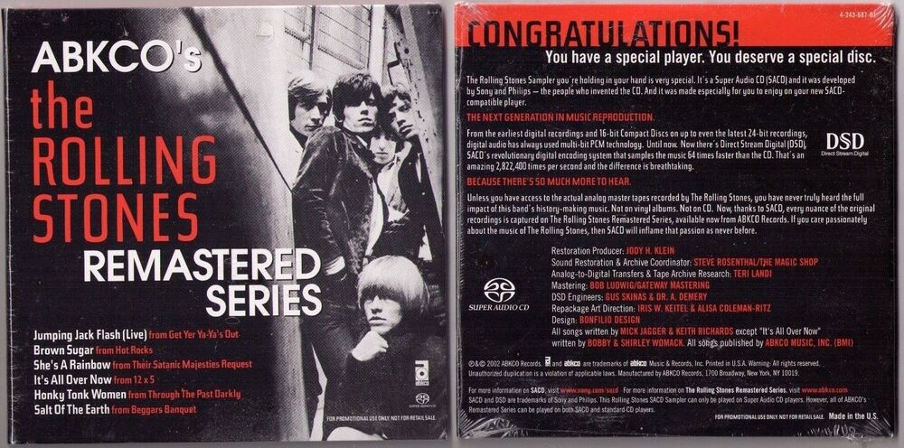 New Sealed Promo Audiophile Rolling Stones Remastered Series Super Audio Sacd Music