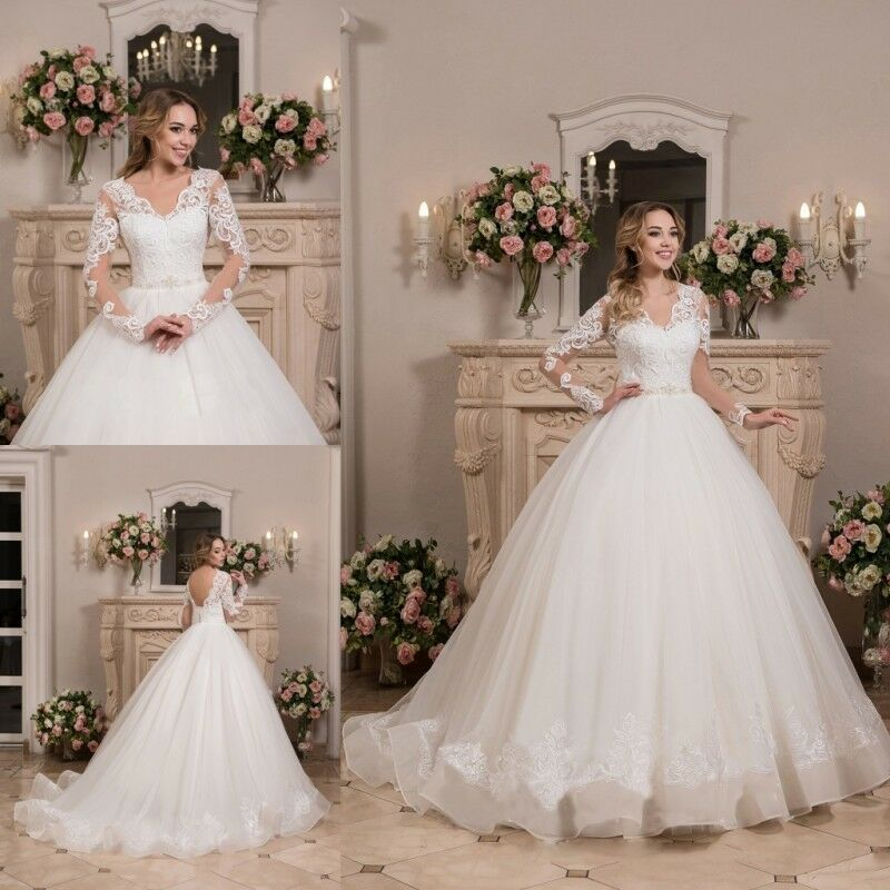 Wedding Dresses Long Sleeves Open Back Sweep Train Bridal Ball Gowns ...
