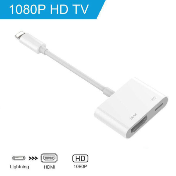 Lightning to HDMI Adapter Cable Digital AV TV For iPhone6/7/8 Plus iPad 1080P CN