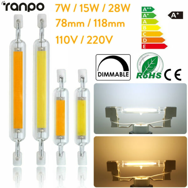 Dimmable R7S LED Tube Light COB Bulbs Glass Ceramic 7W 15W 28W 78/118mm 220V RLM