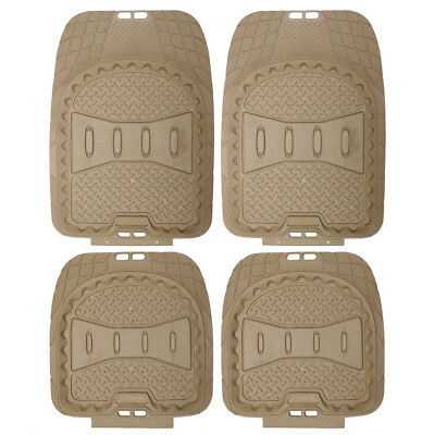 Car Floor Mats for All Weather Rubber 4pc Set Deep Dish Fit Heavy Duty Beige