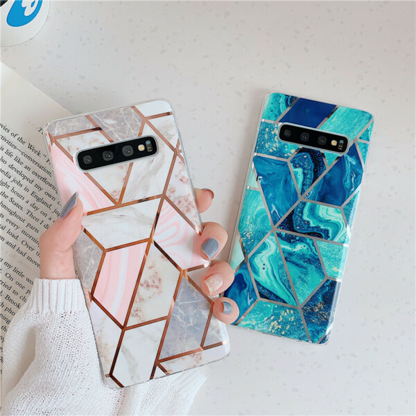 For Samsung Galaxy S10e S10 S9 S8 Plus Glossy Pink Plating Luxury Geometry Cases