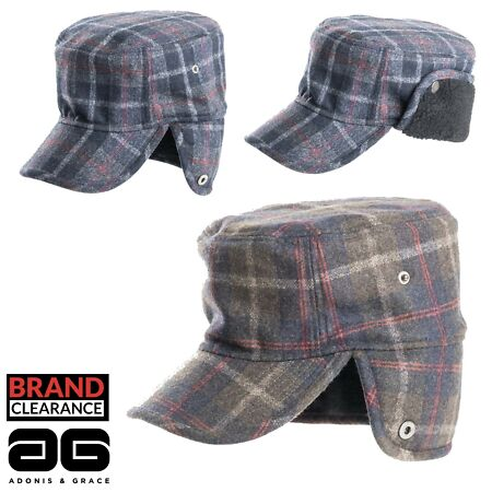 img-Hunting Checked Trapper Cap Shooting Fashion Wool Blend Winter Hat by A&G