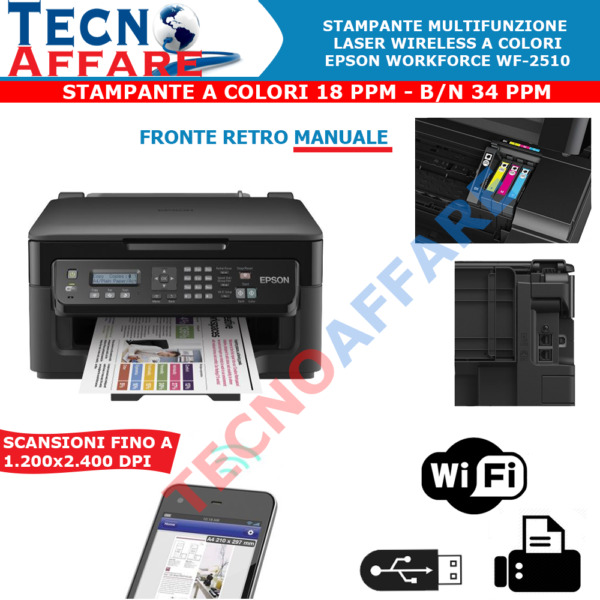 Stampante Wireless Multifunzione Scanner Fax WiFi Epson WorkForce WF-2510WF