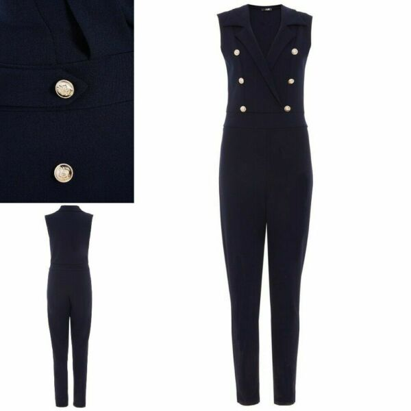 RRP £34.99 Quiz Navy Crepe Military Gold Button Tapered Jumpsuit           (B65)