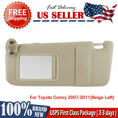 For 2007-2011 Toyota Camry SUN VISOR LEFT DRIVER SIDE BEIGE WITHOUT SUNROOF