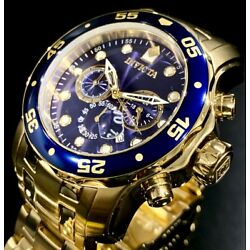 Kyпить Invicta Mens PRO DIVER SCUBA Chronograph Blue Dial 18K Gold Bracelet Watch 0073 на еВаy.соm