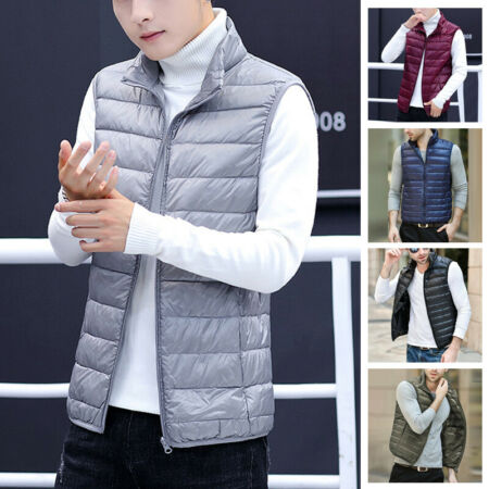 img-Mens Duck Down Padded Quilted Gilet Vest Puffer Sleeveless Jacket Waistcoat Tops