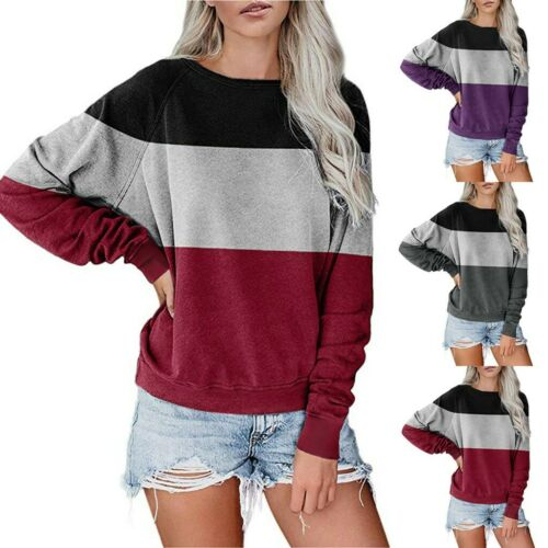 Women Tops Blouses Long Sleeve T-Shirts Pullover Crewneck SpliceSweater New