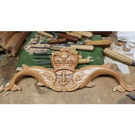 img-Submarine dolphins , submariner, royal navy, wall plaque, hand carved solid oak
