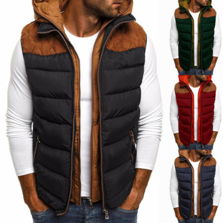img-Mens Cotton Padded Detach Vest Sleeveless Jacket Body Warmer Gilet Quilted Coats