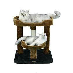Go Pet Club Brown and Blue 23'' Cat Tree with Perch and Bed
