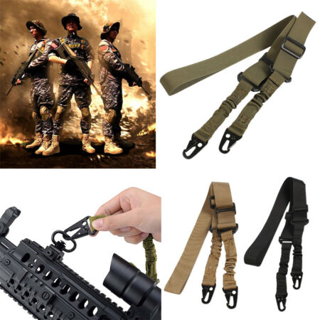 img-Tactical 2 Point Gun Sling Shoulder Strap Outdoor Hunting Airsoft Rifle Belt